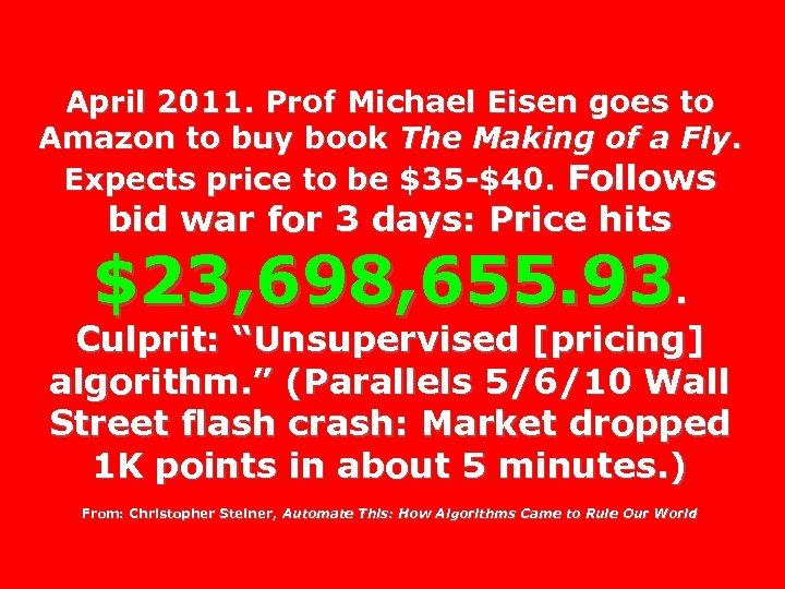 April 2011. Prof Michael Eisen goes to Amazon to buy book The Making of