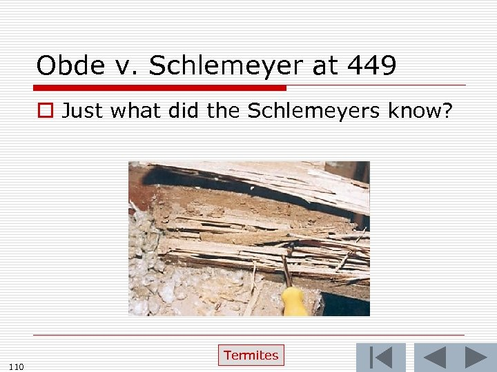 Obde v. Schlemeyer at 449 o Just what did the Schlemeyers know? 110 Termites