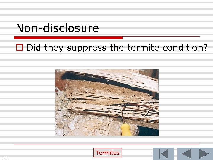 Non-disclosure o Did they suppress the termite condition? 111 Termites