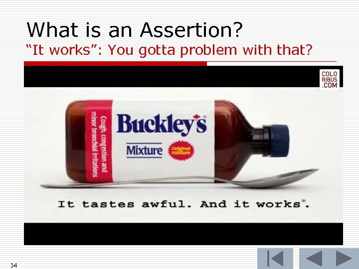 """What is an Assertion? """"It works"""": You gotta problem with that? 14"""
