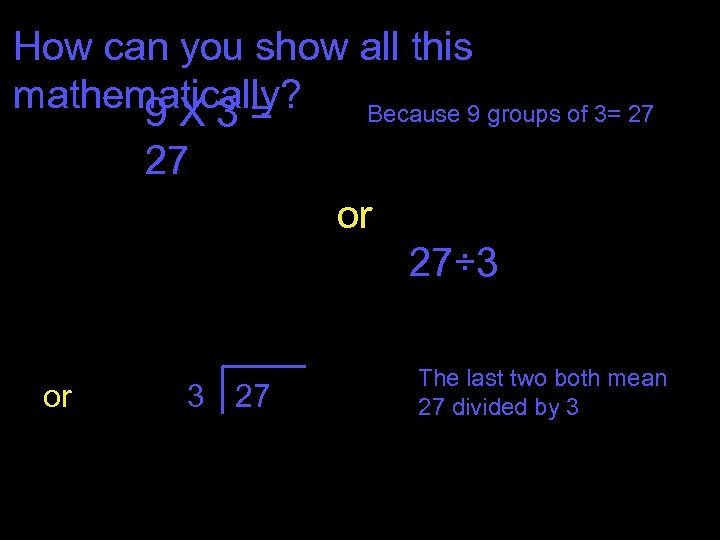 How can you show all this mathematically? Because 9 groups of 3= 27 9