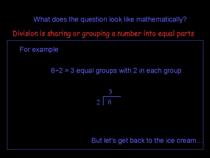 What does the question look like mathematically? Division is sharing or grouping a number