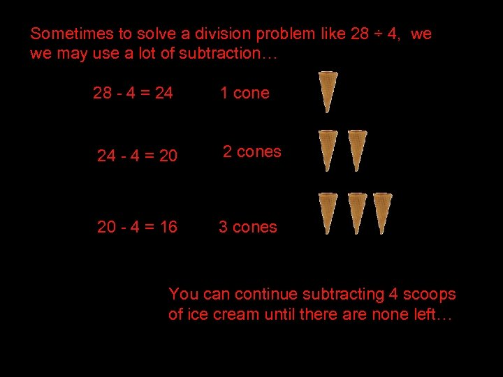 Sometimes to solve a division problem like 28 ÷ 4, we we may use
