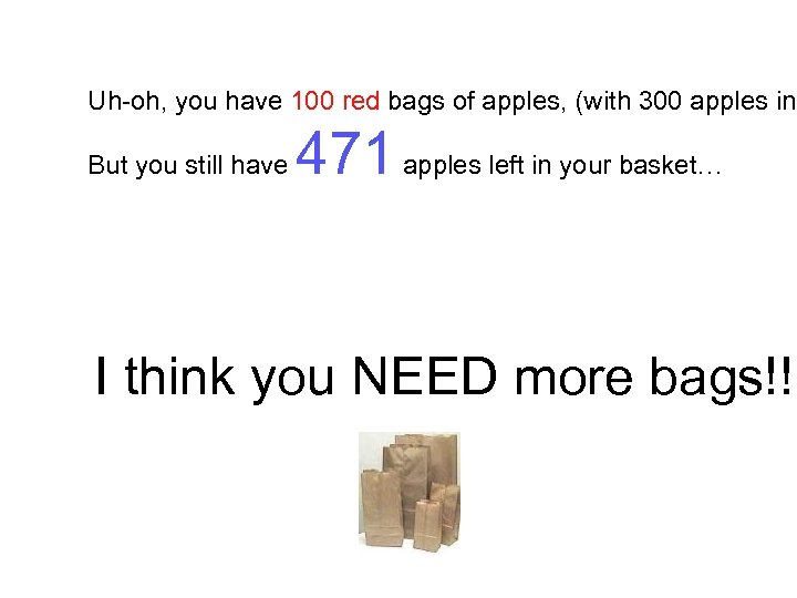 Uh-oh, you have 100 red bags of apples, (with 300 apples in But you