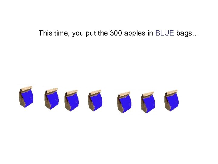 This time, you put the 300 apples in BLUE bags…