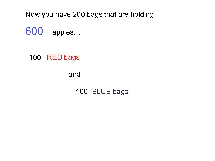 Now you have 200 bags that are holding 600 apples… 100 RED bags and