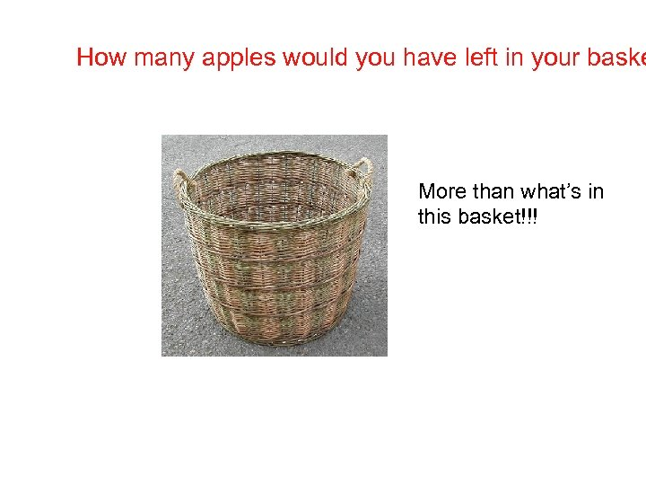 How many apples would you have left in your baske More than what's in