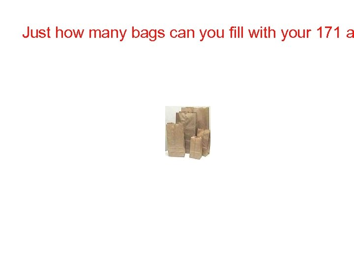 Just how many bags can you fill with your 171 a