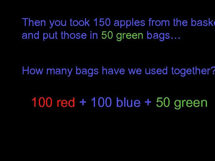 Then you took 150 apples from the baske and put those in 50 green