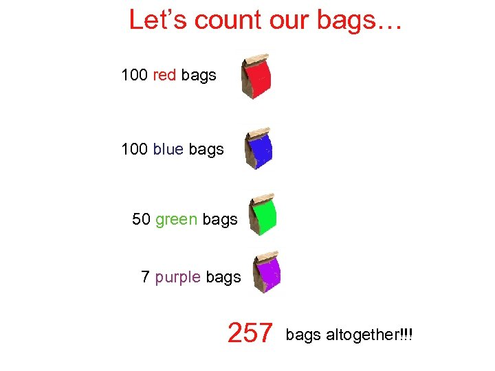 Let's count our bags… 100 red bags 100 blue bags 50 green bags 7