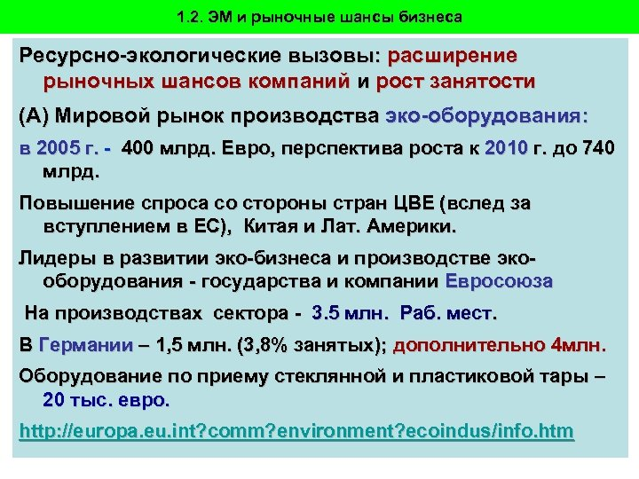 1. 2. ЭМ и рыночные шансы бизнеса Ресурсно-экологические вызовы: расширение рыночных шансов компаний и