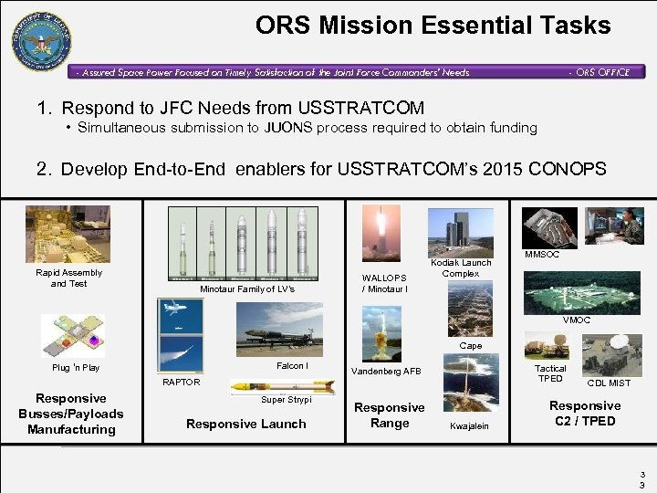 ORS Mission Essential Tasks - Assured Space Power Focused on Timely Satisfaction of the