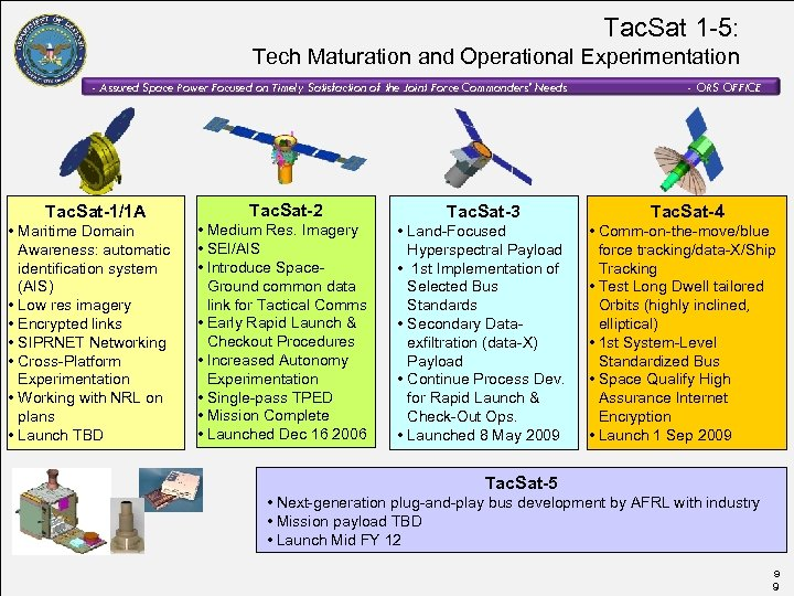 Tac. Sat 1 -5: Tech Maturation and Operational Experimentation - Assured Space Power Focused