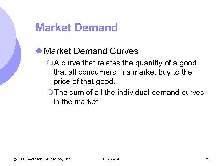 Market Demand l Market Demand Curves m. A curve that relates the quantity of