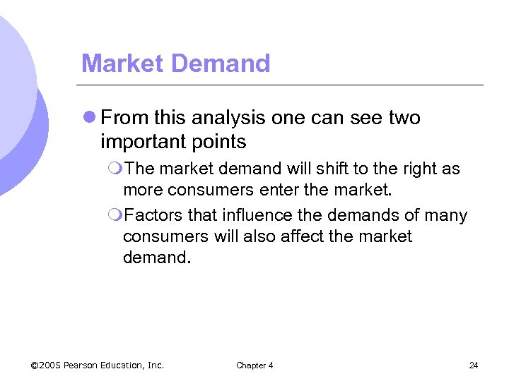 Market Demand l From this analysis one can see two important points m. The
