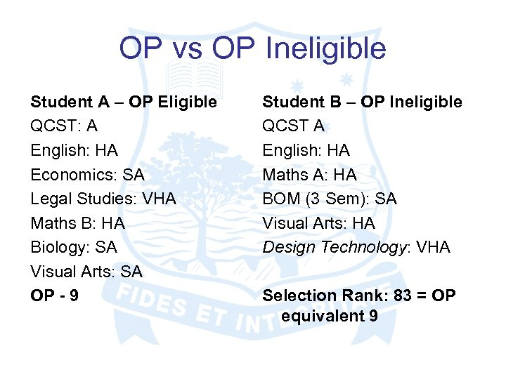OP vs OP Ineligible Student A – OP Eligible QCST: A English: HA Economics: