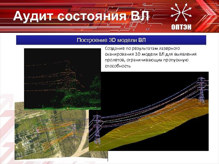 Аудит состояния ВЛ Построение 3 D модели ВЛ Создание по результатам лазерного сканирования 3