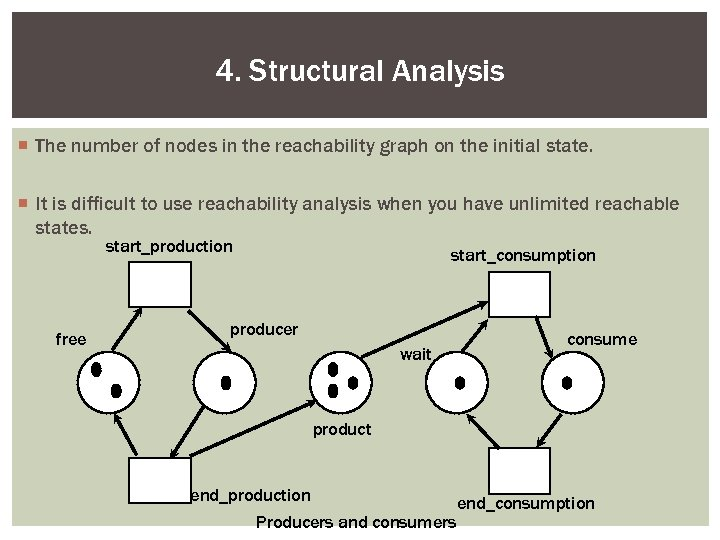 4. Structural Analysis ¡ The number of nodes in the reachability graph on the