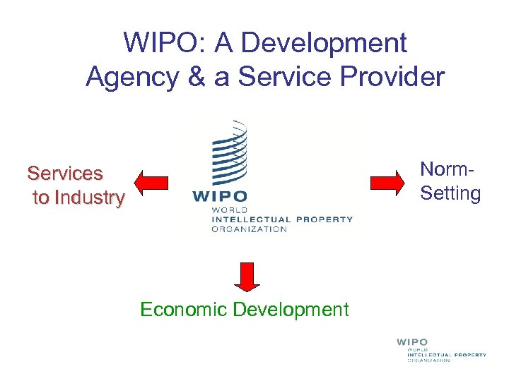 WIPO: A Development Agency & a Service Provider Norm. Setting Services to Industry Economic