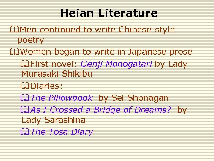 Heian Literature &Men continued to write Chinese-style poetry &Women began to write in Japanese