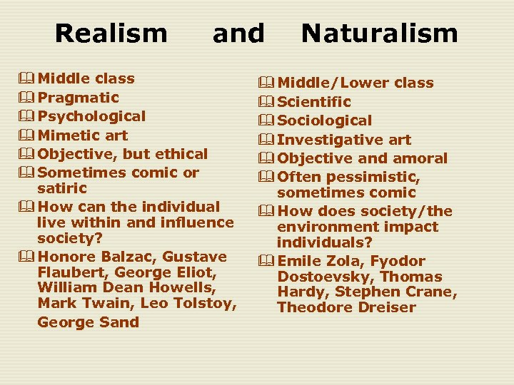 Realism and Naturalism & Middle class & Pragmatic & Psychological & Mimetic art &