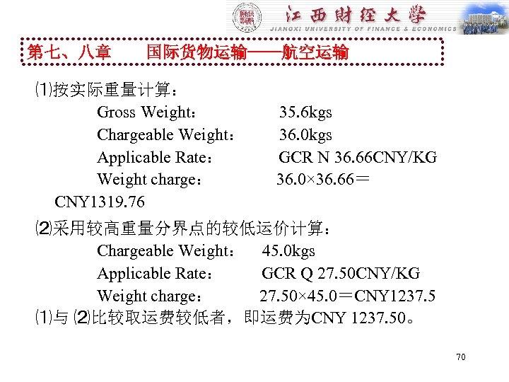 第七、八章 国际货物运输----航空运输 ⑴按实际重量计算: Gross Weight: 35. 6 kgs Chargeable Weight: 36. 0 kgs Applicable