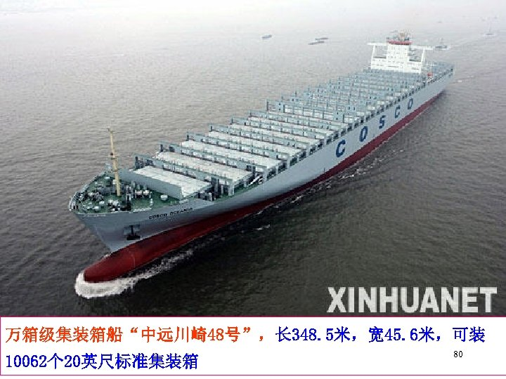 """万箱级集装箱船""""中远川崎48号"""",长 348. 5米,宽 45. 6米,可装 10062个 20英尺标准集装箱 80"""
