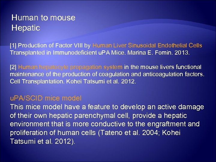 Human to mouse Hepatic [1] Production of Factor VIII by Human Liver Sinusoidal Endothelial