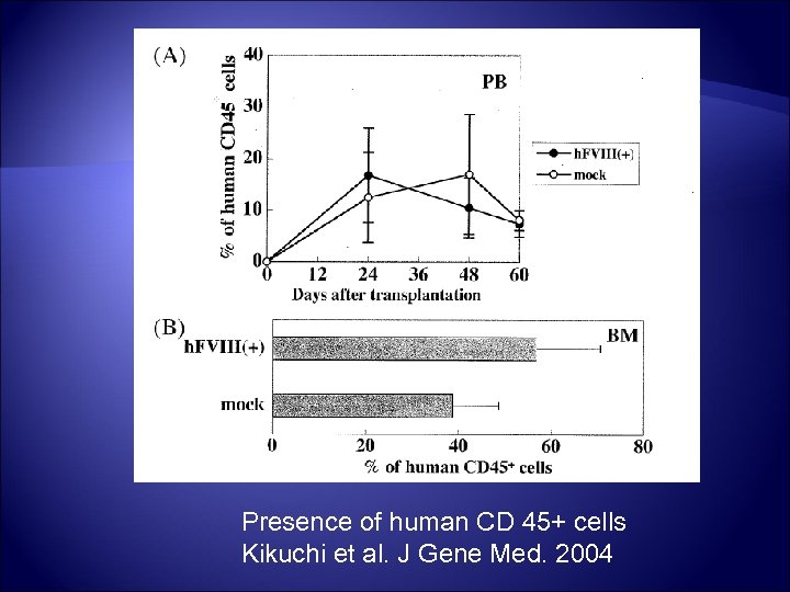 Presence of human CD 45+ cells Kikuchi et al. J Gene Med. 2004