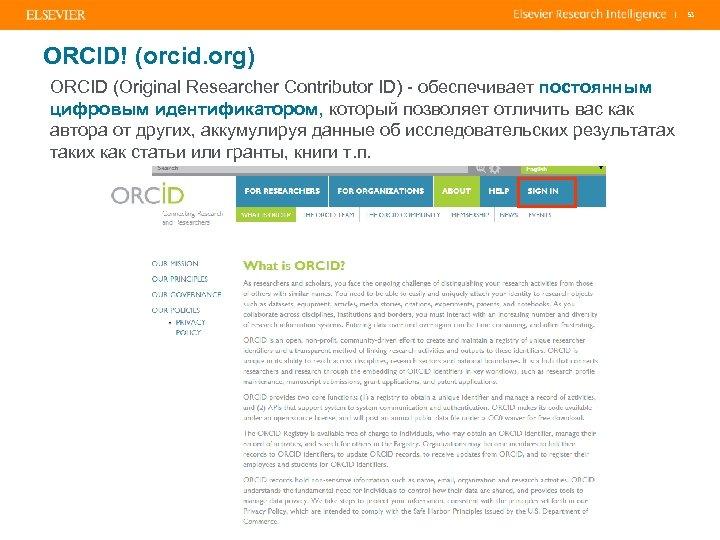 | ORCID! (orcid. org) ORCID (Original Researcher Contributor ID) - обеспечивает постоянным цифровым идентификатором,