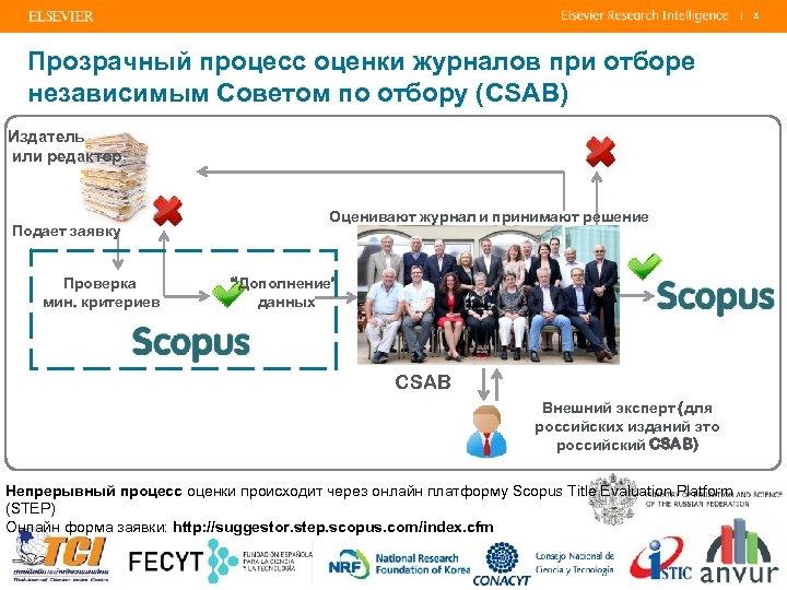 | Прозрачный процесс оценки журналов при отборе независимым Советом по отбору (CSAB) Издатель или