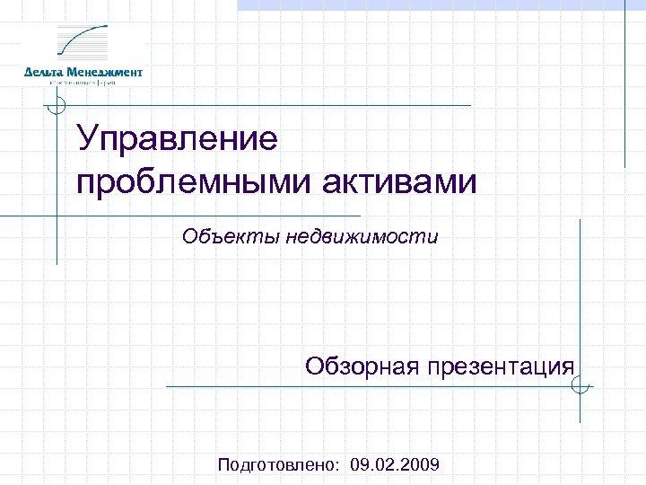 Управление проблемными активами Объекты недвижимости Обзорная презентация Подготовлено: 09. 02. 2009