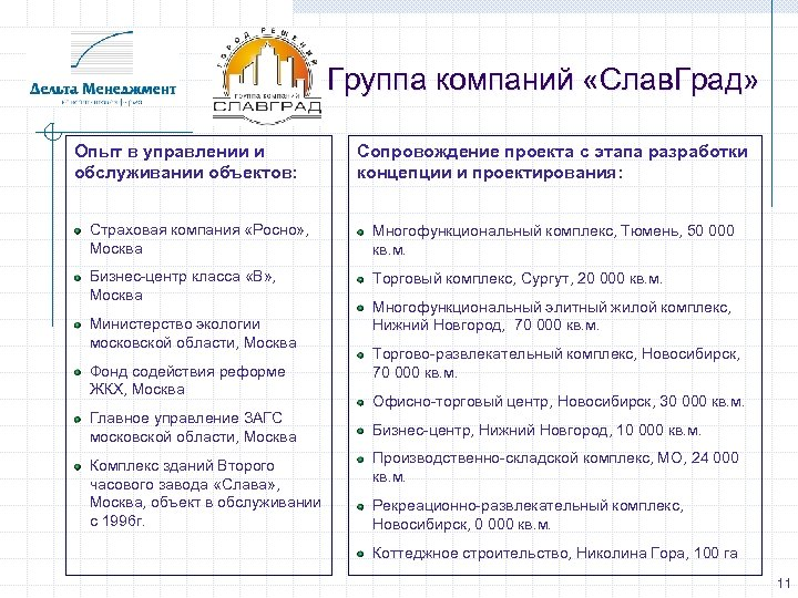 Группа компаний «Слав. Град» Опыт в управлении и обслуживании объектов: Сопровождение проекта с этапа