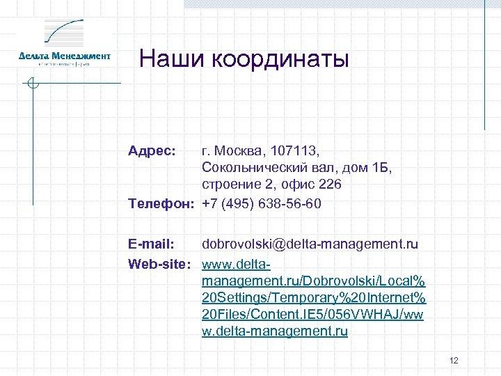 Наши координаты Адрес: г. Москва, 107113, Сокольнический вал, дом 1 Б, строение 2, офис