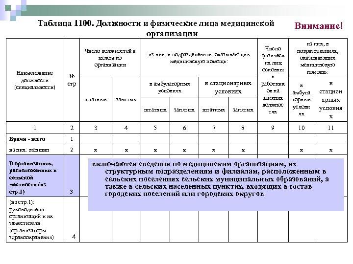 Таблица 1100. Должности и физические лица медицинской организации штатных занятых Число физическ их лиц