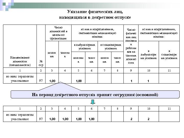 Указание физических лиц, находящихся в декретном отпуске Число должностей в целом по организации из