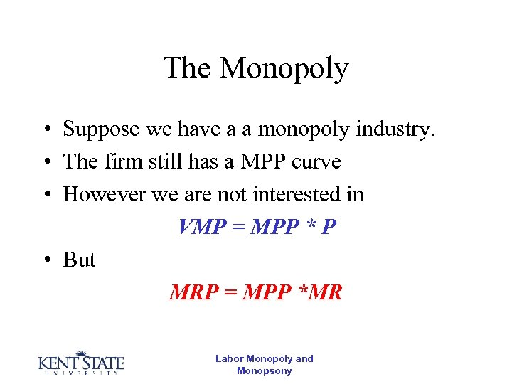 The Monopoly • Suppose we have a a monopoly industry. • The firm still