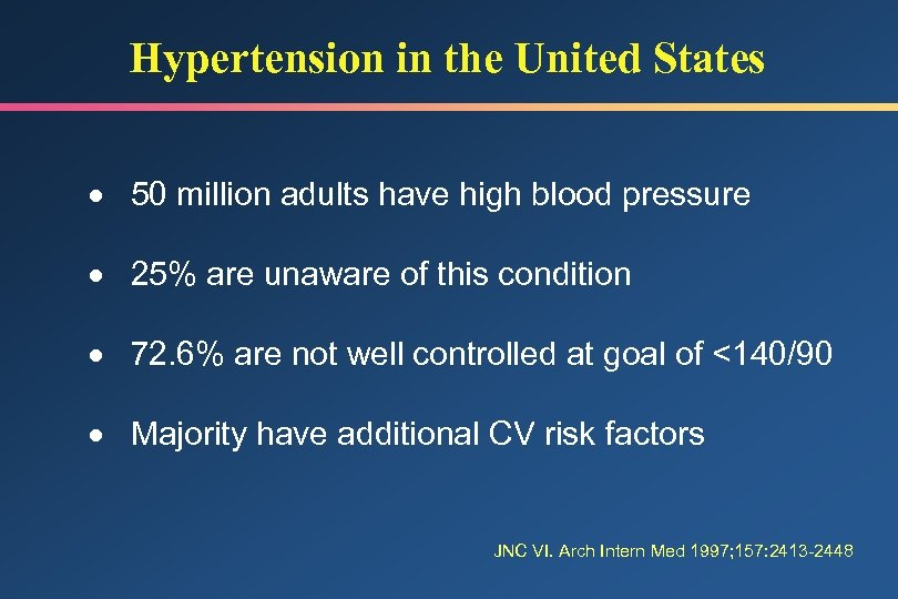 Hypertension in the United States · 50 million adults have high blood pressure ·