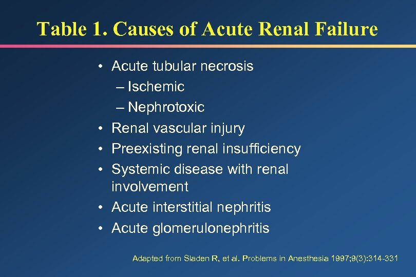 Table 1. Causes of Acute Renal Failure • Acute tubular necrosis – Ischemic –