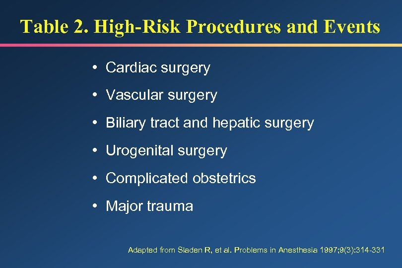 Table 2. High-Risk Procedures and Events • Cardiac surgery • Vascular surgery • Biliary