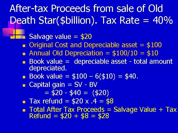 After-tax Proceeds from sale of Old Death Star($billion). Tax Rate = 40% n n