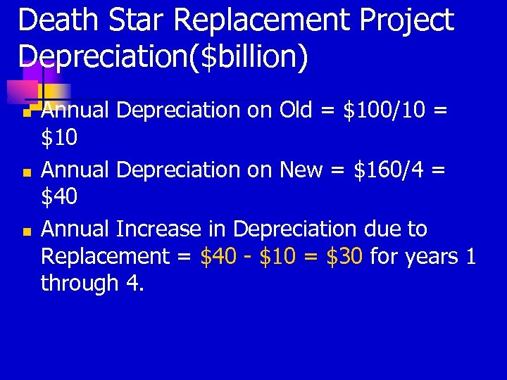 Death Star Replacement Project Depreciation($billion) n n n Annual Depreciation on Old = $100/10