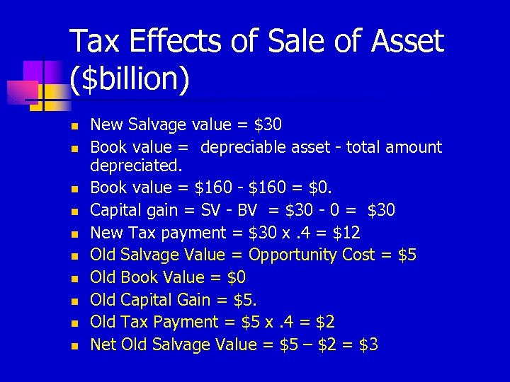 Tax Effects of Sale of Asset ($billion) n n n n n New Salvage