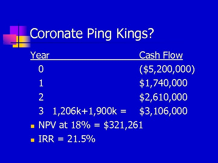 Coronate Ping Kings? Year Cash Flow 0 ($5, 200, 000) 1 $1, 740, 000