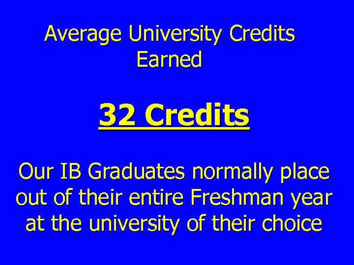 Average University Credits Earned 32 Credits Our IB Graduates normally place out of their