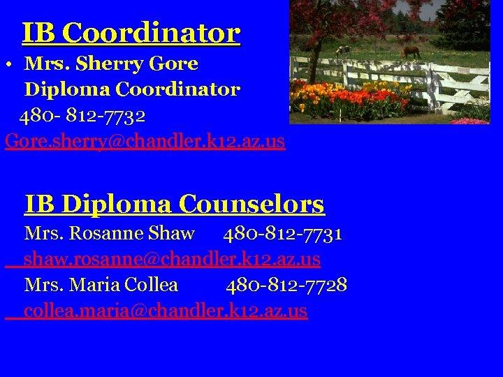 IB Coordinator • Mrs. Sherry Gore Diploma Coordinator 480 - 812 -7732 Gore. sherry@chandler.