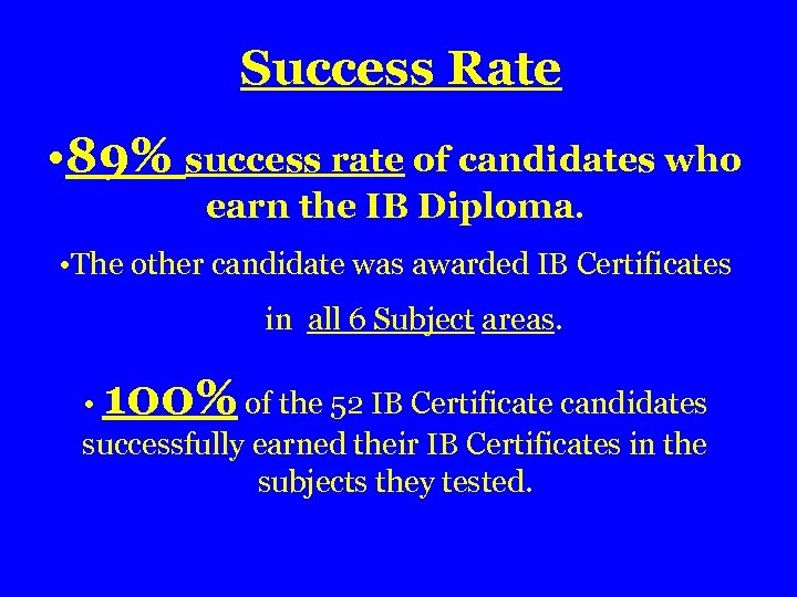 Success Rate • 89% success rate of candidates who earn the IB Diploma. •