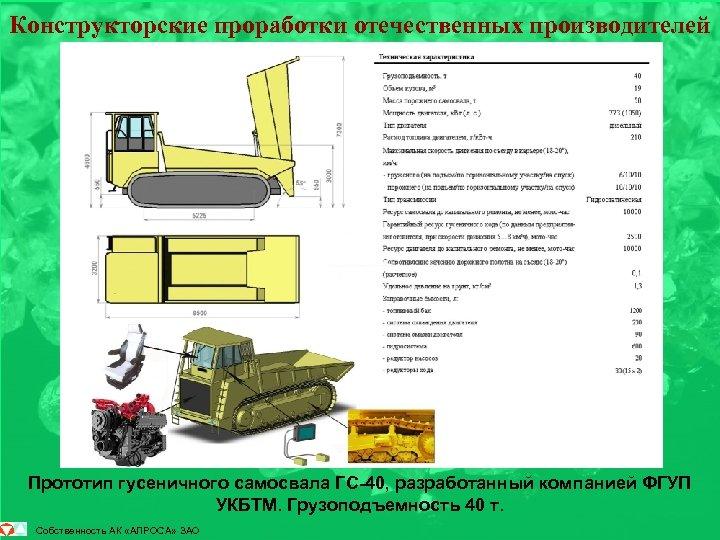 Конструкторские проработки отечественных производителей Прототип гусеничного самосвала ГС-40, разработанный компанией ФГУП УКБТМ. Грузоподъемность 40