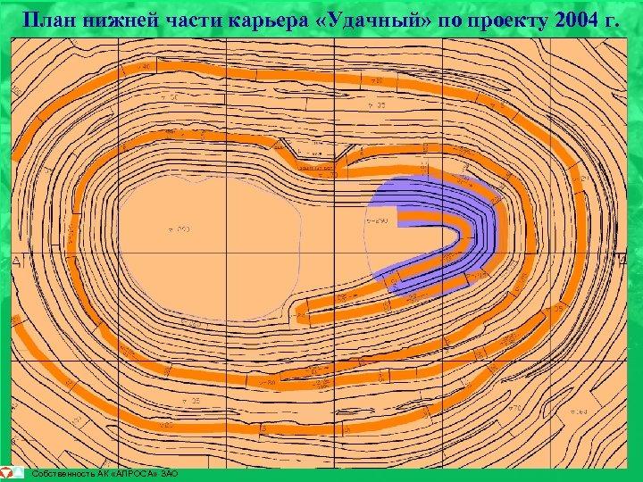 План нижней части карьера «Удачный» по проекту 2004 г. Собственность АК «АЛРОСА» ЗАО