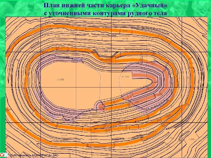 План нижней части карьера «Удачный» с уточненными контурами рудного тела Собственность АК «АЛРОСА» ЗАО